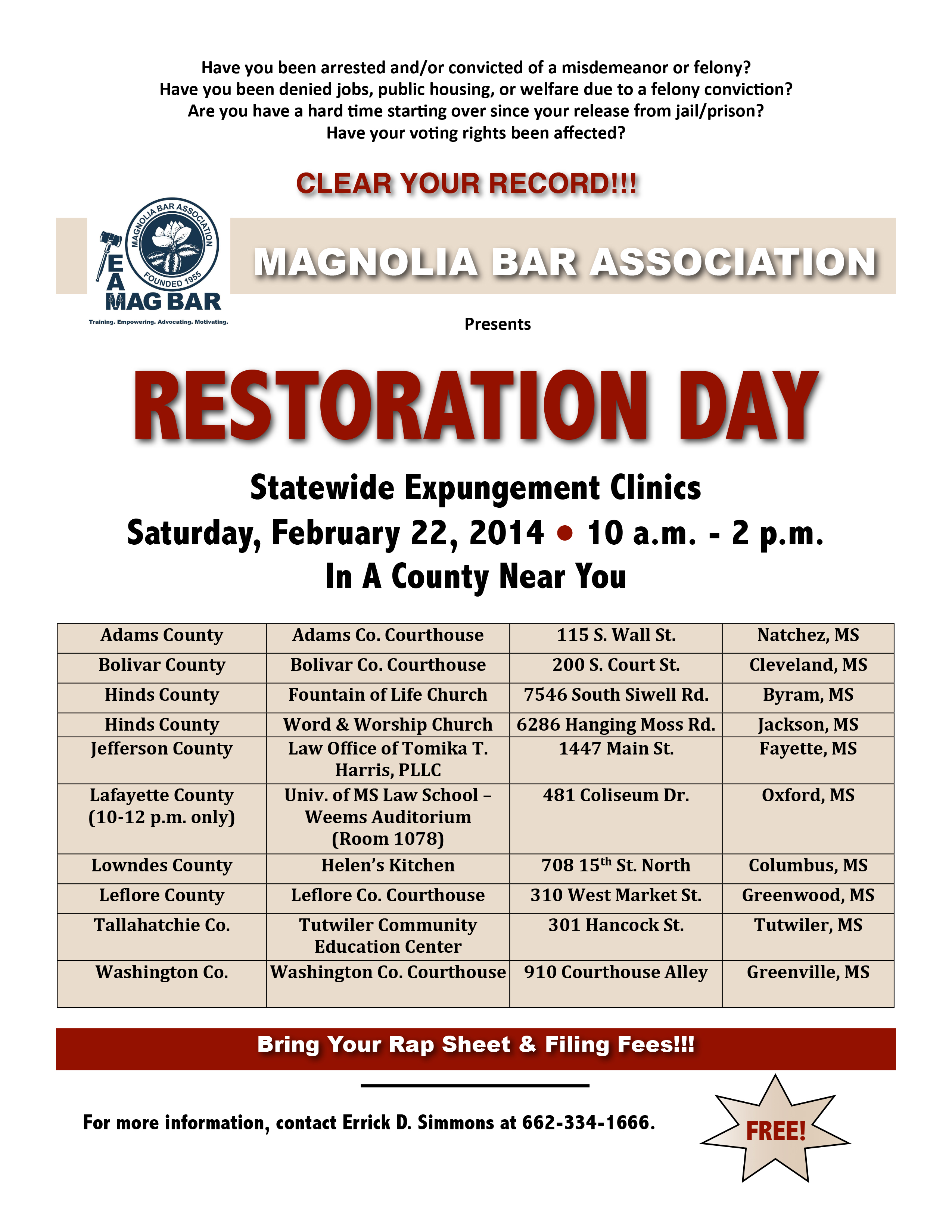 MAG BAR Expungement Clinic flyer
