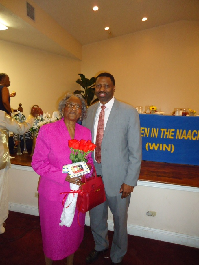 Mrs. Ellie Dahmer with MS State Conference President Derrick Johnson
